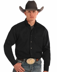 Tuf Cooper Men's Long Sleeve Competition Fit Button Down Shirt-Black