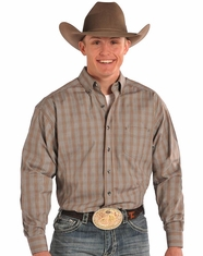 Tuf Cooper Men's Long Sleeve Competition Fit Button Down Shirt-Brown