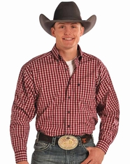 Tuf Cooper Men's Long Sleeve Competition Fit Plaid Button Down Shirt-Red (Closeout)
