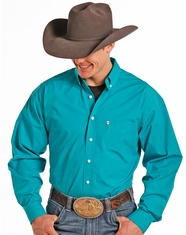 Tuf Cooper Men's Long Sleeve Competition Fit Dobby Button Down Shirt - Turquoise