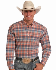 Tuf Cooper Men's Long Sleeve Competition Fit Plaid Button Down Shirt - Orange