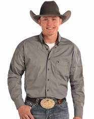Tuf Cooper Men's Long Sleeve Competition Fit Print Button Down Shirt-Grey (Closeout)