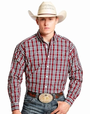 Tuf Cooper Men's Long Sleeve Competition Fit Plaid Button Down Shirt - Red