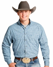 Tuf Cooper Men's Long Sleeve Competition Fit Print Button Down Shirt - Blue