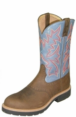 "Twisted X Men's 12"" Cowboy Pull-On Steel Round Toe Work Boots - Denim/ Distressed"