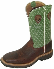 "Twisted X Men's Lite Weight Cowboy 12"" Steel Toe Work Boots - Cognac/ Lime"