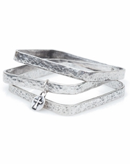 West & Company Women's Hammered Bangles - Burnished Silver