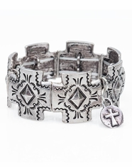 West & Company Women's Tribal Cross Stretch Bracelet - Burnished Silver
