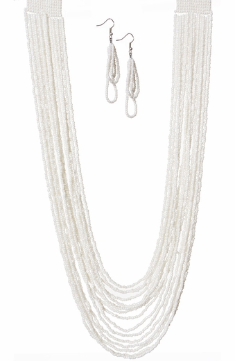 West & Company Womens Multi Strand Pearl Seed Bead Necklace Set - Pearl (Closeout)