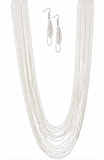 West & Company Womens Multi Strand Pearl Seed Bead Necklace Set - Pearl
