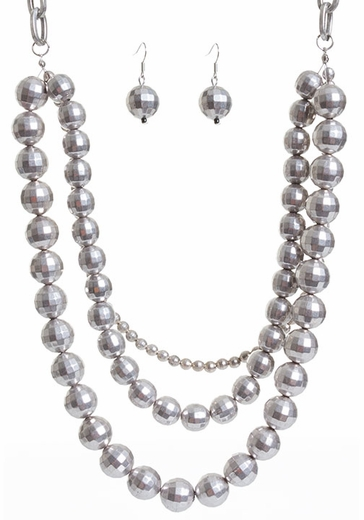 West & Company Womens Three Strand Facet Ball Necklace and Earring Set