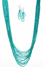 West & Company Womens Turquoise Multi Strand Beaded Necklace Set - Turquoise