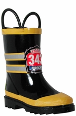 "Western Chief Boy's ""Fire Chief"" Rain Boots - Black (Closeout)"