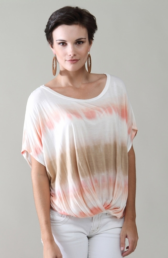 Witness Womens Short Sleeve Tye Dye Stripe Bubble Top - Coral (Closeout)