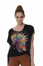 Women's Anama Indian Headdress Top - Black (Closeout)