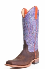 Women's Anderson Bean Square Toe Acid Wash Cowboy Boots - Purple/Brown