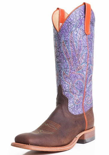 Women's Anderson Bean Square Toe Acid Wash Cowboy Boots - Purple/Brown (Closeout)