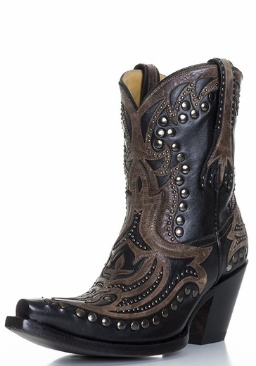 Corral Women's Laser Inlay Studded Shorty Cowboy Boots - Black/Brown