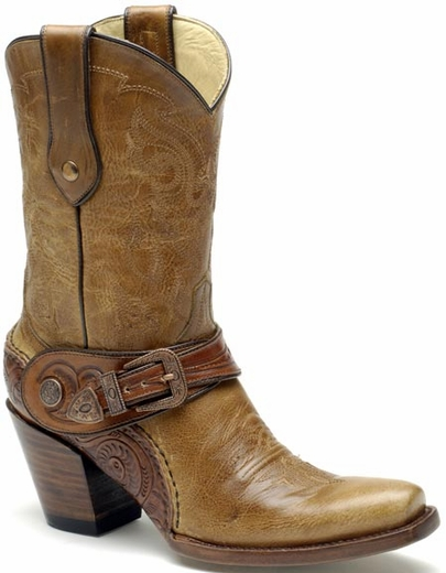 Corral Women's Saltillo Golden Harness Boots w/Tooled Sole - Golden