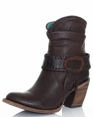 Women's Corral Slouch Concho Shorty Boots - Chocolate (Closeout)