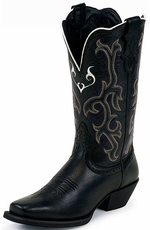 "Women's Justin 12"" Black Deercow Wide Square Toe Boots (Closeout)"