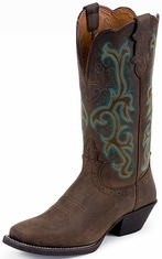 "Women's Justin 12"" Sorrel Apache Wide Square Toe Boots"