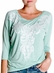 Women's Miss Me 3/4 Dolman Sleeve Embellished Boat Neck Shirt - Mint