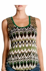 Women's Miss Me Angel's Wing Retro Beaded Zig Zag Tank Top - Green (Closeout)
