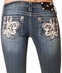 Women's Miss Me Leather and Tinsel Fleur de Lis Boot Cut Jeans - MK 143