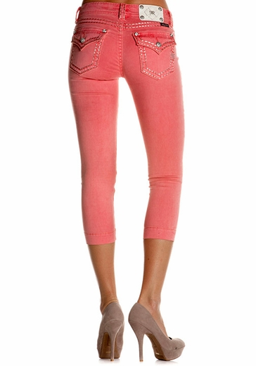 Women's Miss Me Low Rise Slim Fit Silver Embroidery Capri - Coral
