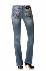 Women's Miss Me Rhinestone Wings Low Rise Boot Cut Jeans - MED 91
