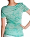 Women's Miss Me Short Sleeve Embellished Shadowstripe Tee Shirt - Mint