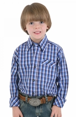 Wrangler 20X Boys Long Sleeve Print Button Down Western Shirt - Blue (Closeout)