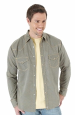 Wrangler 20X Mens Long Sleeve Print Snap Western Shirt - Brown/Tan