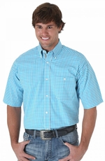 Wrangler 20X Mens Short Sleeve Check Button Western Shirt - Turquoise/White