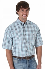Wrangler 20X Mens Short Sleeve Plaid Button Western Shirt - Grey/Charcoal/Emerald