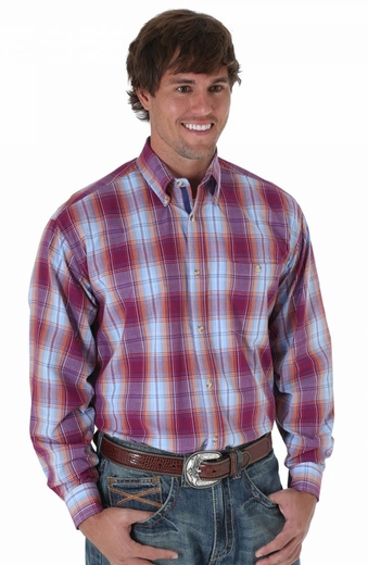 Wrangler 20X Long Sleeve Plaid Button Down Western Shirt - Cabernet (Closeout)