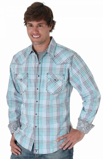 Wrangler Mens 20X Long Sleeve Plaid Snap Western Shirt - Blue (Closeout)