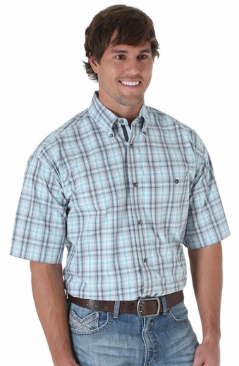 Wrangler 20X Mens Short Sleeve Plaid Button Western Shirt - Grey/Charcoal/Emerald (Closeout)