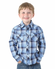 Wrangler Boy's  Long Sleeve Plaid Snap Shirt - Blue