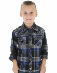 Wrangler Boy's Long Sleeve Rock 47 Plaid Snap Shirt - Blue