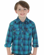 Wrangler Boy's Plaid Snap Shirt - Teal/Blue (Closeout)