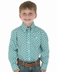 Wrangler Boy's Printed Button Down Shirt - Green (Closeout)