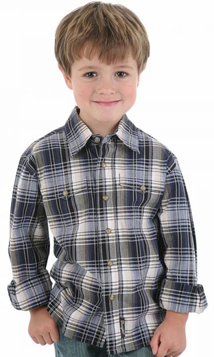 Wrangler Boy's Retro Long Sleeve Plaid Snap Shirt - Blue/ Black/ Khaki (Closeout)