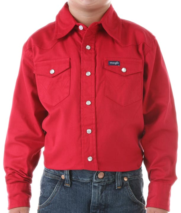 Wrangler Boy's Solid Snap Western Shirt - Red