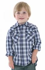 Wrangler Boys 20X Long Sleeve Plaid Snap Western Shirt - Blue (Closeout)
