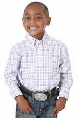 Wrangler Boys Long Sleeve Plaid Button Down Western Shirt - Pink