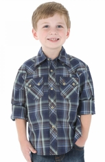 Wrangler Boys Long Sleeve Plaid Snap Western Shirt - Navy (Closeout)