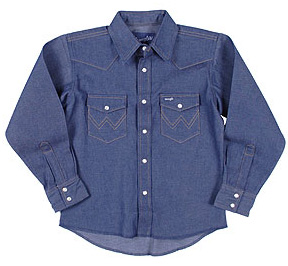 Wrangler Boys' Western Denim Snap Shirt