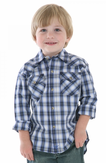 Wrangler Boys 20X Long Sleeve Plaid Snap Western Shirt - Blue